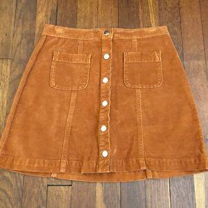 Urban Outfitters Orange Corduroy Mini Skirt S